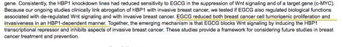 EGCG redujo de células de cáncer de mama tanto de la proliferación tumorigénico y la invasividad de una manera HBP1 - dependiente