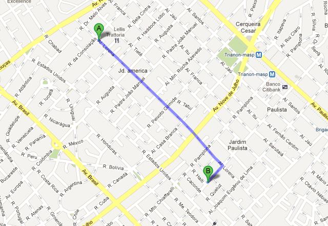 trajeto da caminhada do hotel Slaviero até o café 7 Molinos