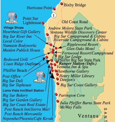 Mapa do site http://www.bigsurcalifornia.org/