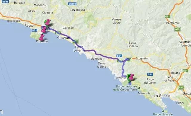 Cidades que fizemos de carro: Rapallo, St. Margherita, Portofino e Monterosso Al Mare (Cinque Terre)