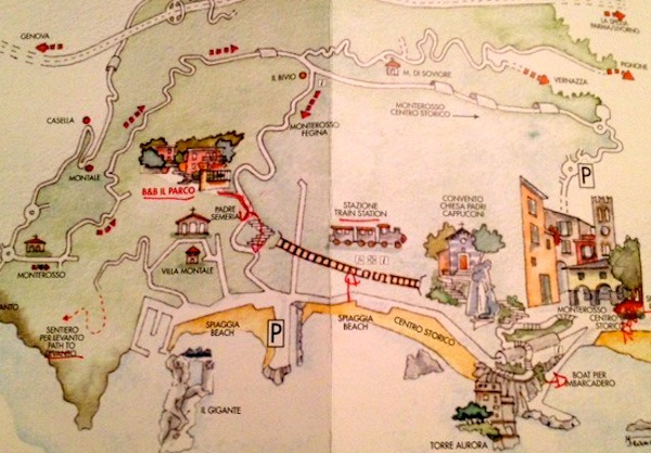 Nosso hotel (Il Parco) e o caminho (em vermelho) para a descida até a praia de Monterosso.