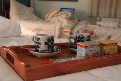 a delicadeza do chazinho entregue no quarto antes de dormir!