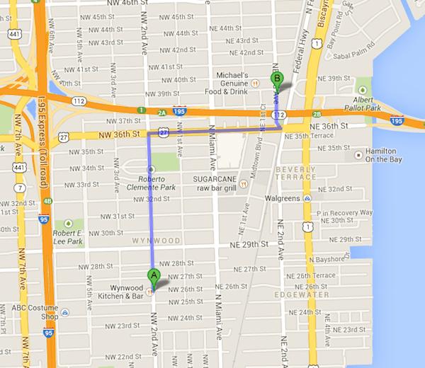 Direção: do Design District (A) à Wynwood Walls (B) - Fonte: Google Maps