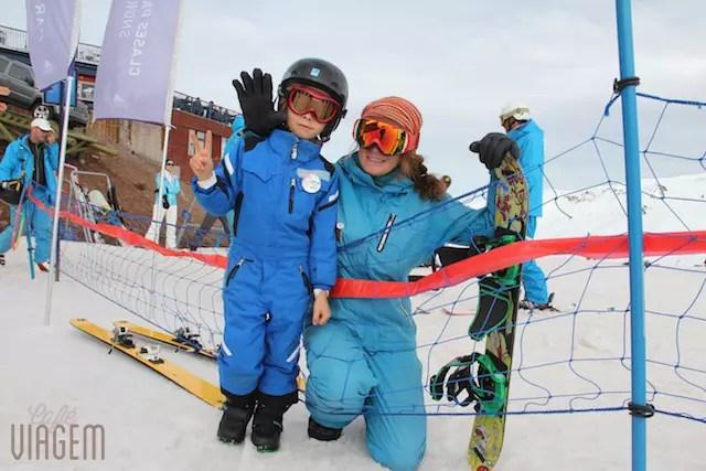 Filhão e sua professora de snowboard!