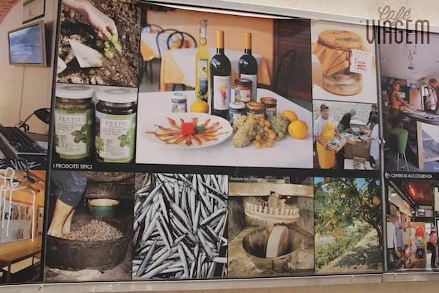 algumas das especialidades produzidas pela região: vinho, pesto, azeite, limão siciliano e anchova