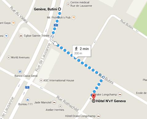 Caminho para quem pega o tram a partir da estação Central para chegar ao hotel