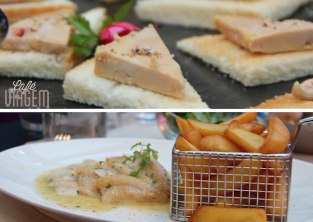 a entrada com foie gras e o prato princiapl de peixe com batatinhas - nhamy!