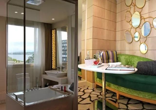 cantinhos do quarto: salinha fashion e o chuveiro com banheira dentro do quarto