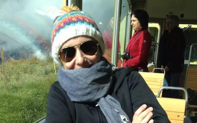 Selfie com frio no trem para Jungfrau