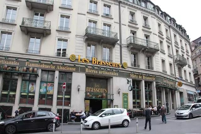 Um ponto gastronômico famoso em Lausanne: a cervejaria Les Brasseurs