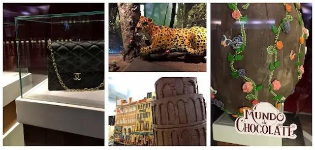 tudo de chocolate: onça, bolsa, torre d Pisa