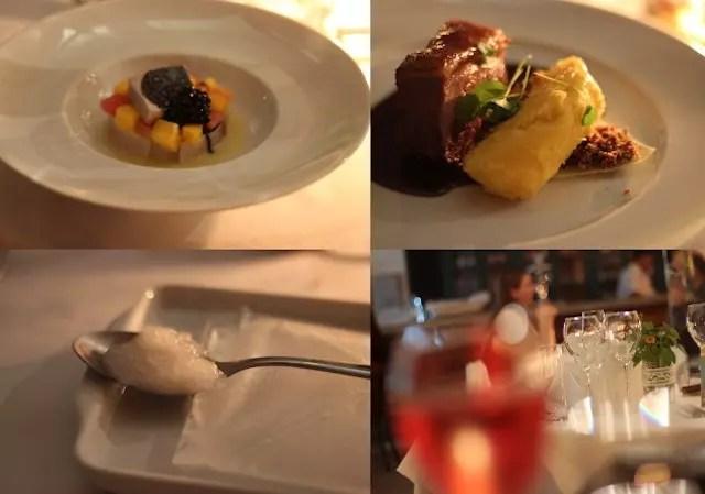 um pouco da sequência do menu: entradas, prato principal e um sobert para limpar o paladar entre um prato e o outro