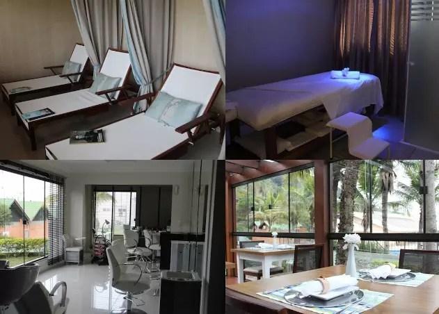A estrutura do SPA com salão de beleza, massagens, ducha e bistrô