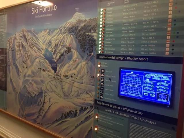 Mapa das pistas e condições do tempo e da neve