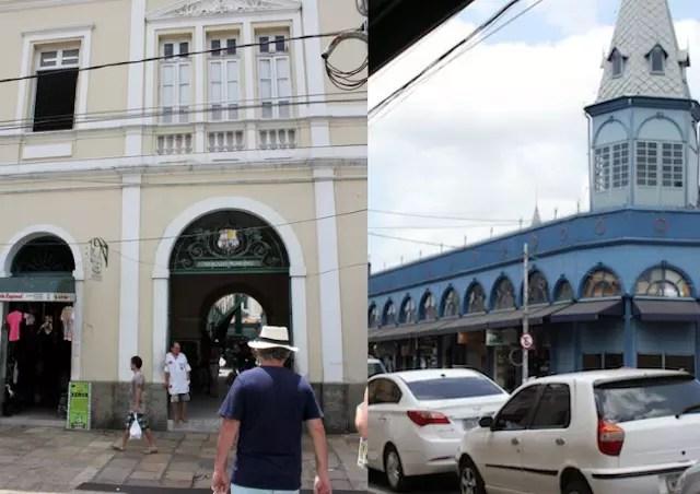 O prédio amarelo do Mercado de Carnes (Francisco Bolonha) e o azul, dos peixes.