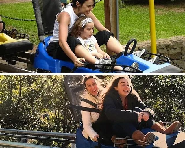 Essa foto mostra bem há quanto tempo a gente se diverte no Alpen Park: minha folha com 4/5 anos e agora, com 13.
