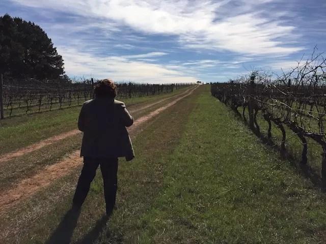 Paula entre os vinhedos do Brasil e do Uruguai