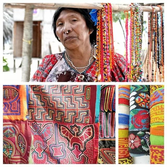 India Kuna vendendo o artesanato Mola.