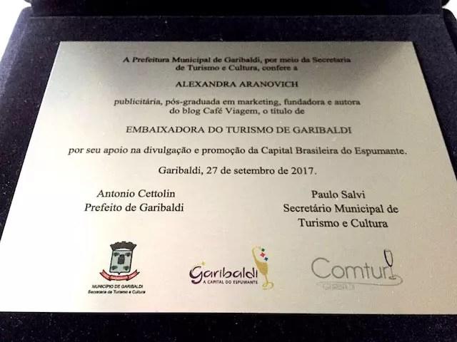 Embaixadora de Turismo de Garibaldi