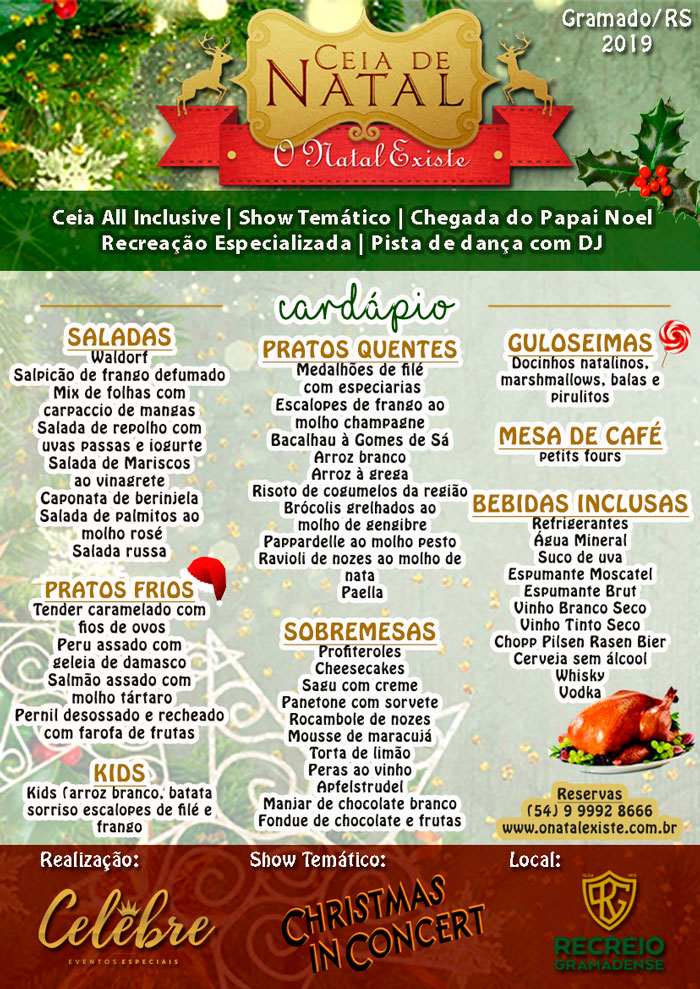Cardápio Ceia de Natal Gramado