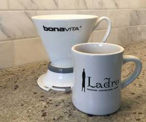 Making Home Brewing Easy with a Bona Vita Immersion Dripper Brewer and a Caffe Ladro diner mug
