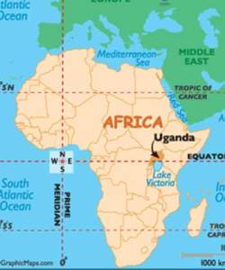 Uganda identified on a map of Africa