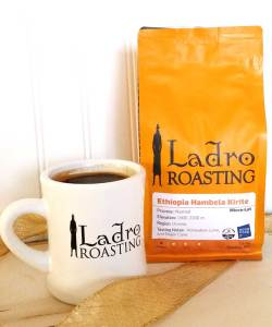 Cup of coffee in a Ladro Roasting mug and a bag of Good Food Awards 2018 Ethiopia Hambela Kirite