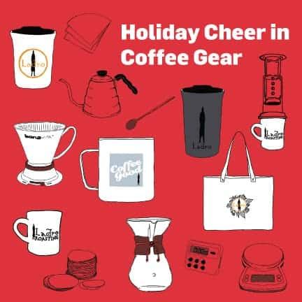 How to Gift Coffee and coffee Gear infographic with mugs, brewers and filters sketched