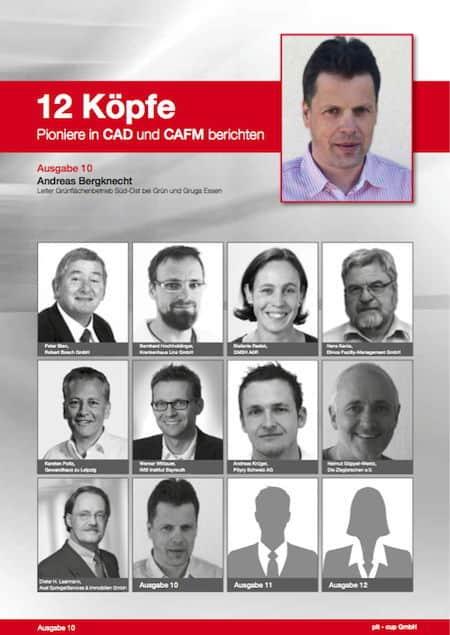 """Von Andreas Bergknecht bei der Gruga Essen handelt Ausgabe 10 der pit-cup Reihe """"12 Köpfe - Pioniere in CAD und CAFM berichten"""""""