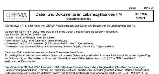 Optisch vertraut, inhaltlich aktualisiert: Die GEFMA 922 zu Daten und Dokumenten im Gebäudelebenszyklus