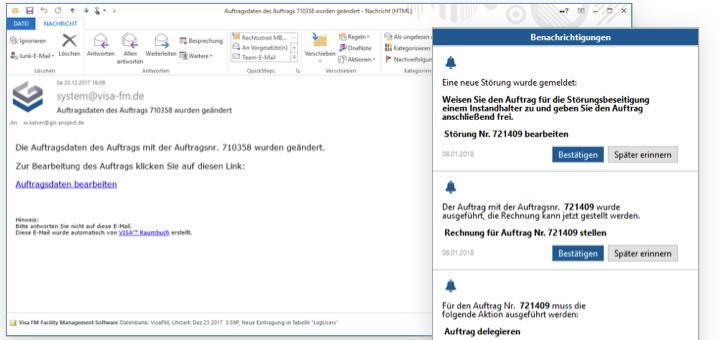 Das überarbeitete Modul für Workflow-Management in Visa FM verschickt Meldungen als E-Mail oder Push-Nachricht