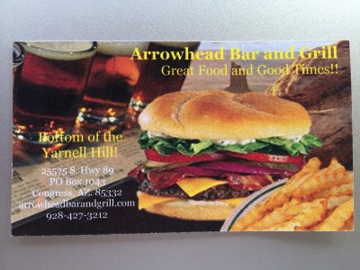 Arrowhead Grill business Card