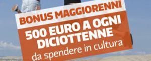 Bonus di 500 euro per diciottenni