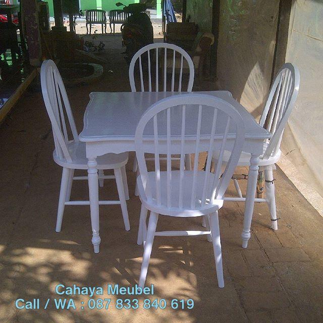 Set Kursi Makan Vintage Duco Putih