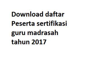 Download daftar Peserta sertifikasi guru madrasah tahun 2017