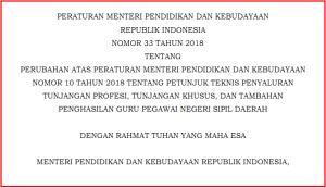 Permendikbud 33 Tahun 2018