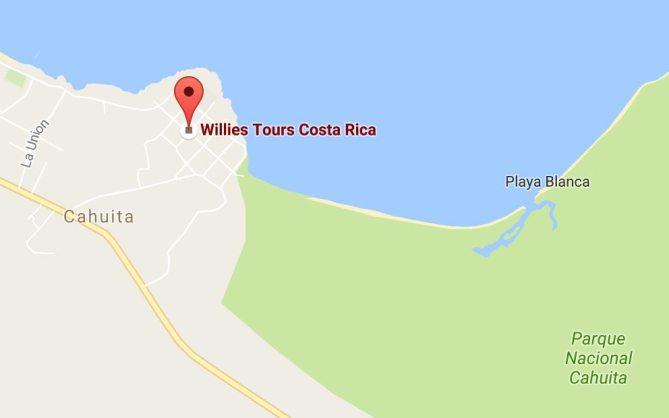 Mapa Cahuita Willies Tours