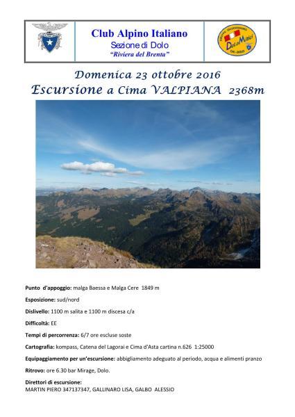 Escursione a Cima Valpiana - Gruppo del Lagorai