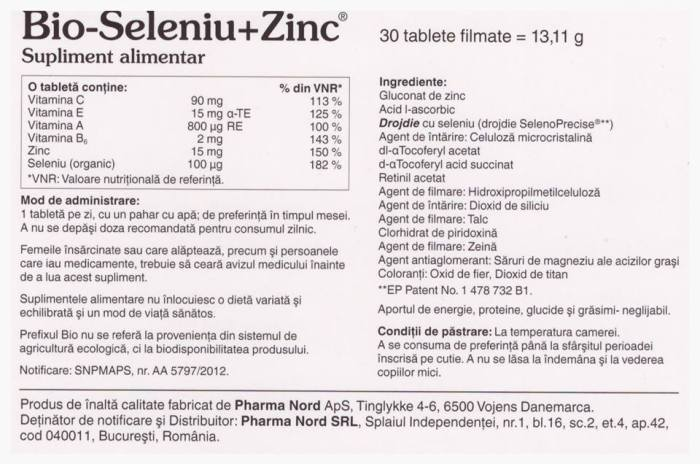 Bio-Seleniu+Zinc Pharma Nord pareri