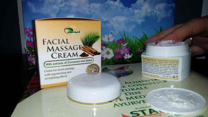 Crema pentru masaj facial cu extract de scorțișoară și curmale de la Ayurmed3