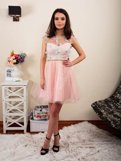 rochie decolteu transparent