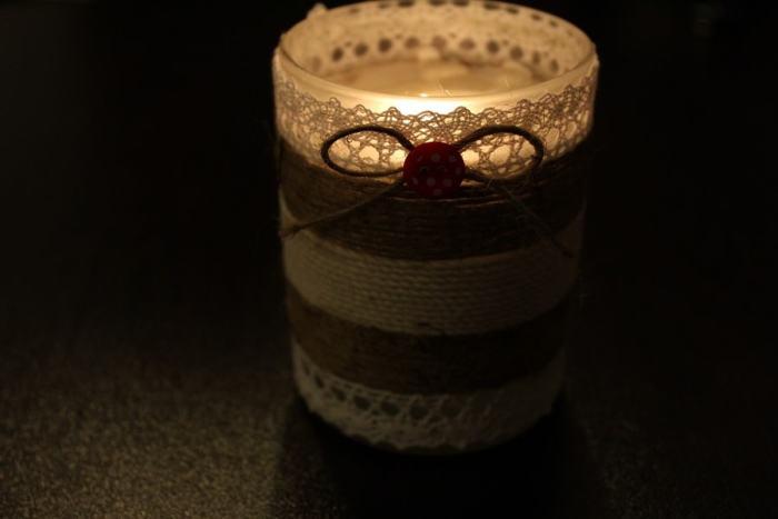lumânare decorativă cu sfoară