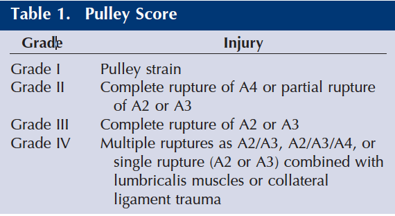 Table for scoring pulley injuries