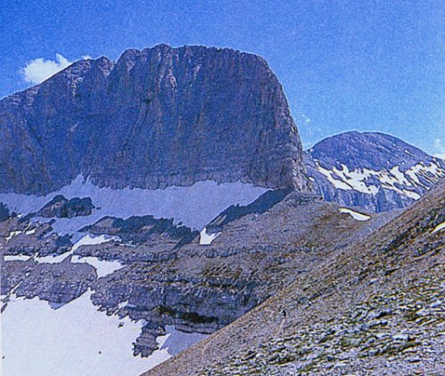 "NE Face of Stephanie Peak ( Throne of Zeus ) on Mt. Olympus - ""Home of the Gods"" - highest mountain in Greece"