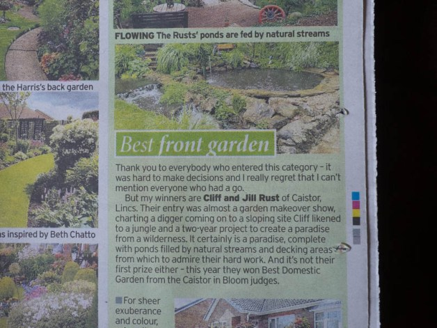 Aqua Dell, Jill and Cliff Rust's Garden is featured in todays Daily Mirror
