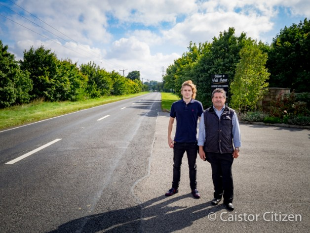 Asa and Bill Green by the Brigg Rd entrance. They have offered to build a footpath and lighting , at their expense where there isn't currently one all the way to Caistor to ensure people's safety