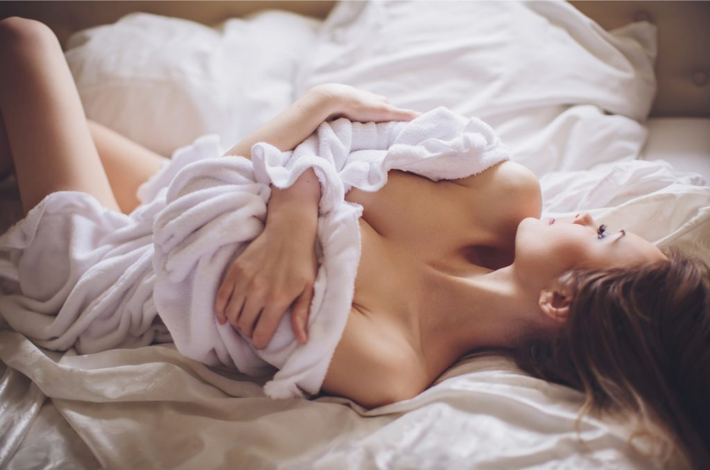 Relaxed woman in bed