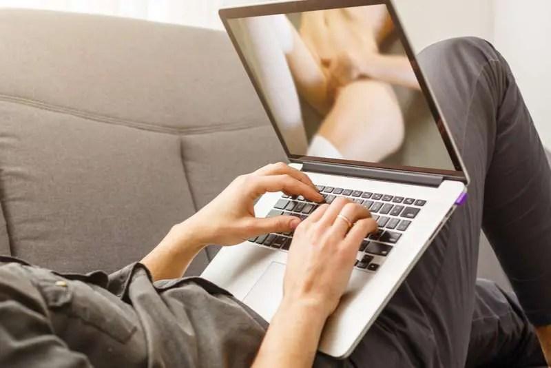 man watching internet porn
