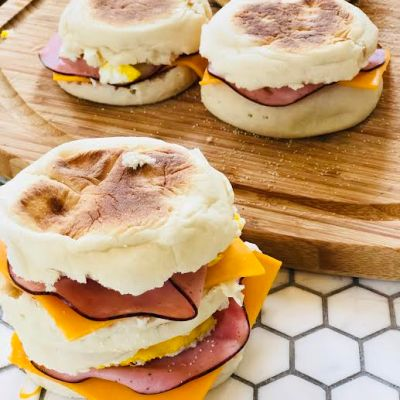 Egg, Ham and Cheese Breakfast Sandwiches