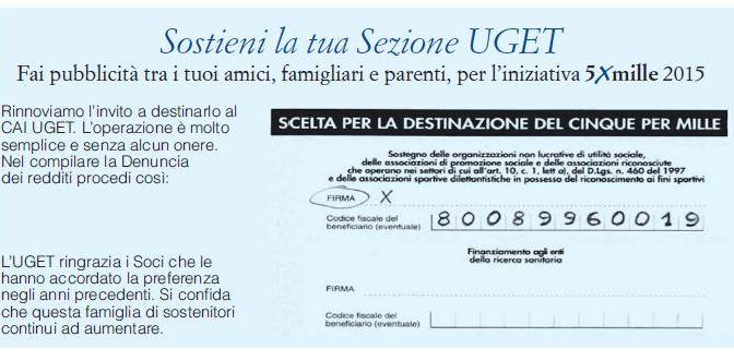 SOSTIENI LA TUA SEZIONE – 5 per mille a favore del CAI- UGET Torino